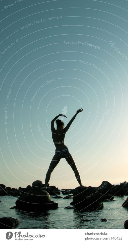 Woman Sky Blue Water Beach Black Adults Landscape Sports Warmth Movement Coast Stone Dream Body Dance