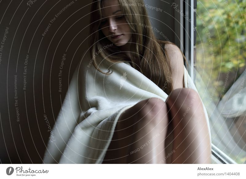 Youth (Young adults) City Beautiful Young woman White 18 - 30 years Window Face Adults Exceptional Dream Living or residing Idyll Sit Esthetic Wait