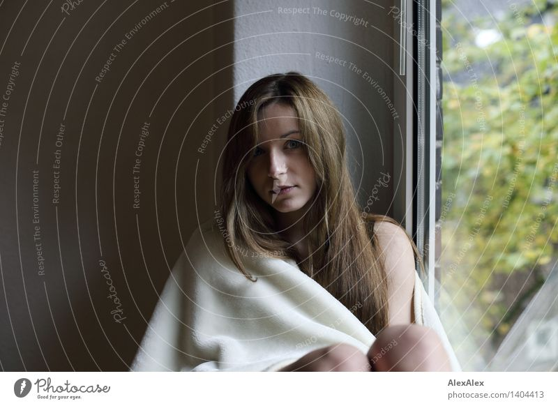 behind the window Well-being Relaxation Young woman Youth (Young adults) 18 - 30 years Adults Window Blanket Brunette Long-haired Sit Esthetic Authentic
