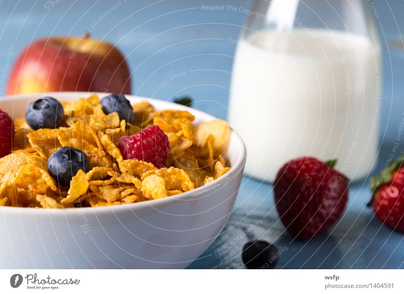 Blue Wood Fruit Apple Breakfast Bowl Vitamin Wooden table Strawberry Milk Rustic Blueberry Flake Country house Cereal Cereals