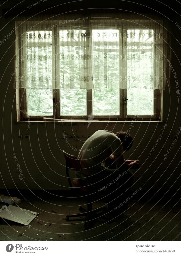 Calm Loneliness Dark Window Sadness Sit Grief Chair Transience Derelict Fatigue Distress Drape Doomed Cry Tears