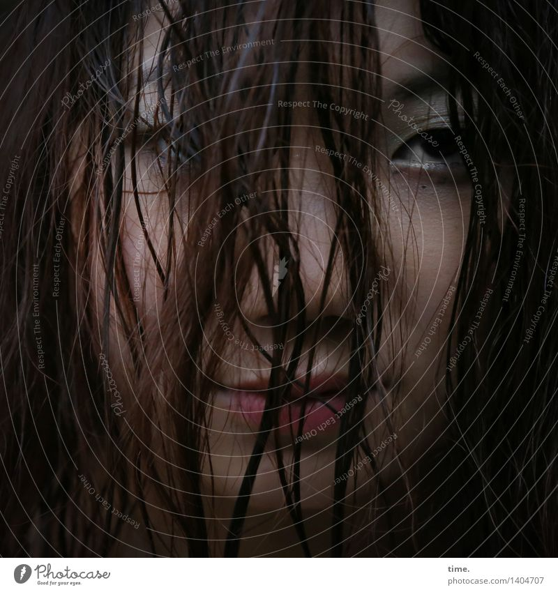 . Feminine 1 Human being Black-haired Red-haired Long-haired Strand of hair Observe Think Looking Wait Self-confident Passion Safety Protection Watchfulness
