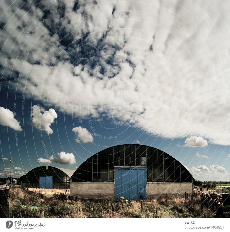 hangars Environment Nature Landscape Sky Clouds Horizon Climate Weather Beautiful weather Bushes Manmade structures Building Architecture Hangar Hall Door Round