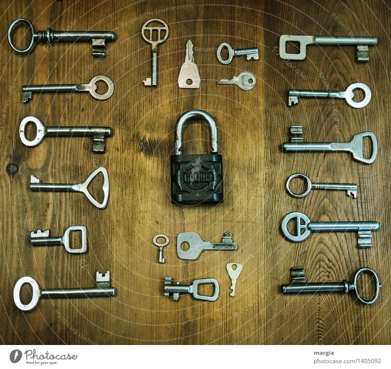 One fits! Profession Craftsperson Locksmith Metalworking shop Services Tool Technology Wood Key Brown Silver Padlock Collection Arrangement Orderliness