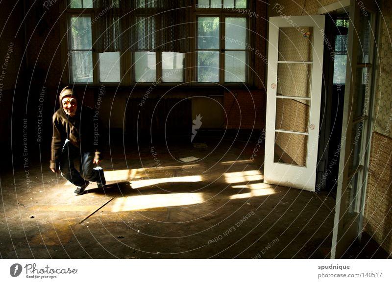 Joy Loneliness Window Jump Sadness Door Room Dance Flying Aviation Floor covering Transience Mask Derelict Hallway Human being