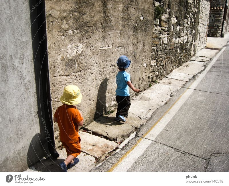 dwarves with shadows Child Toddler Family & Relations Vacation & Travel Shadow Dwarf Small Discover Expedition Street South Summer Joy Italy