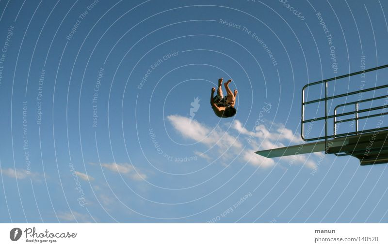 Human being Sky Man Youth (Young adults) White Blue Summer Joy Clouds Black Sports Freedom Jump Movement Air Healthy