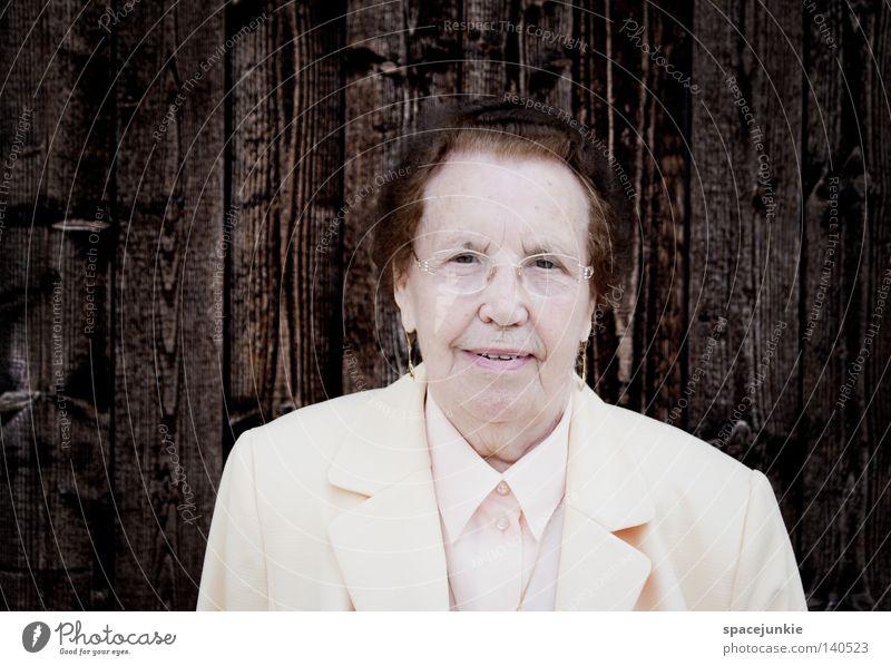 angels Grandmother Senior citizen Old Portrait photograph Black White Wisdom Woman Eyeglasses Wall (building) Wood Wooden board Arrangement Looking Chic Noble