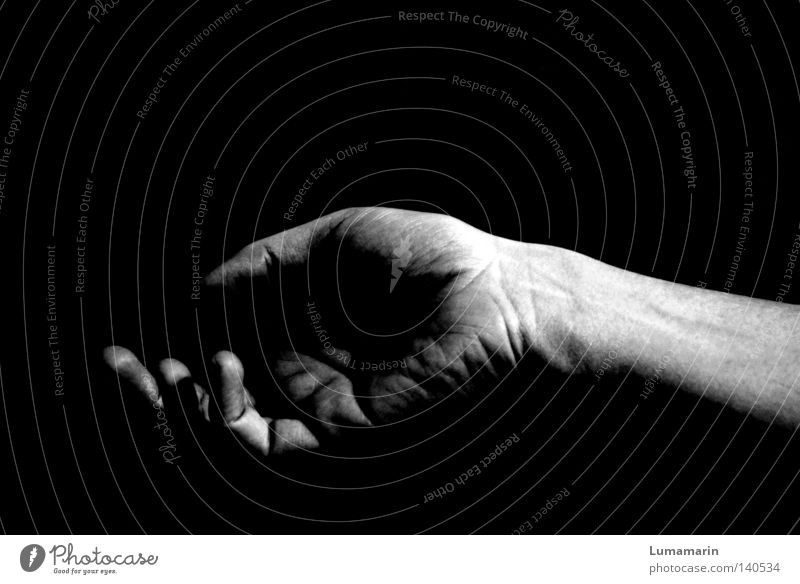 time is a jailer Hand Palm of the hand Fingers Dark Empty Open Comfortable Lifeless Vulnerable Lose Sleep Fatigue Black & white photo Feeble fingertips Idle