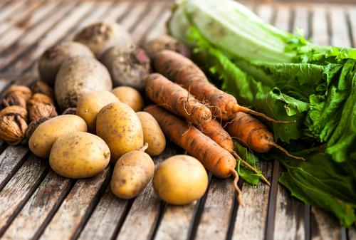 autumn harvest Food Vegetable Nutrition Healthy Eating Agriculture Forestry Autumn Potatoes Carrot Red beet Chinese cabbage Wood Authentic Natural Brown Green