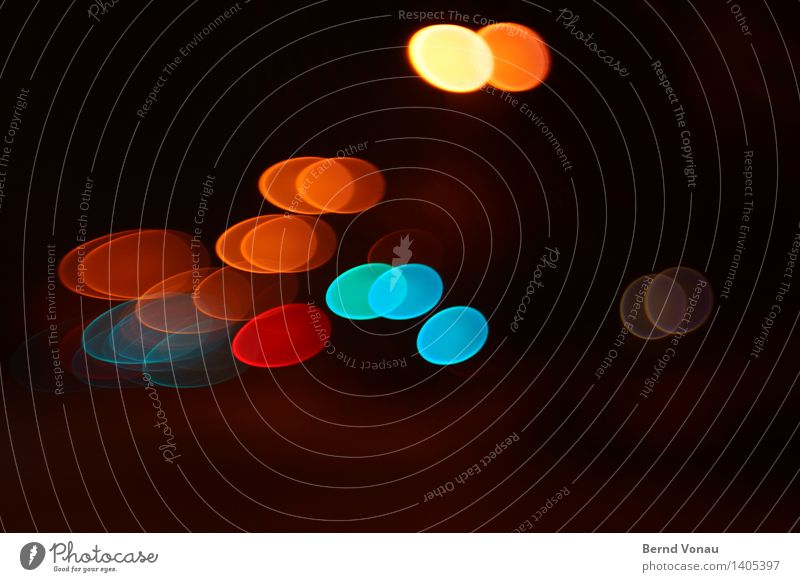at night Transport Traffic infrastructure Motoring Street Blue Multicoloured Yellow Gold Red Black Blur Oval Egg Easter Movement Dynamics Slice Circle Round