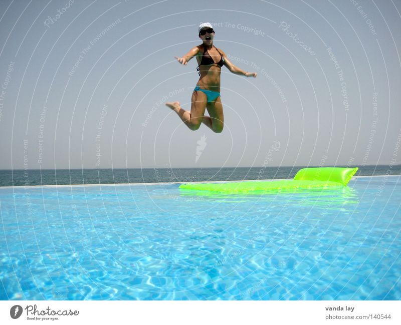 high up Summer Swimming pool Vacation & Travel Water Ocean Swimming & Bathing Bikini Bathroom Jump Air Joy Beautiful Thin Woman Scream Flying Body Body tension