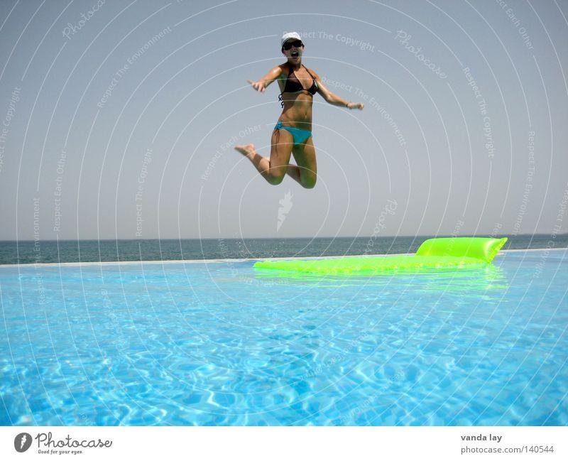 Woman Water Green Beautiful Vacation & Travel Summer Ocean Joy Freedom Jump Air Horizon Body Swimming & Bathing Wet Flying