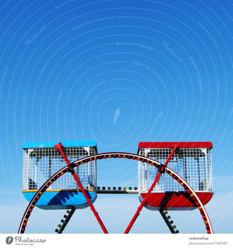 Blue Red London Small Empty In pairs Fairs & Carnivals England Blue sky Ferris wheel Cloudless sky Amusement Park Merry-go-round London Eye Clear sky Bright background
