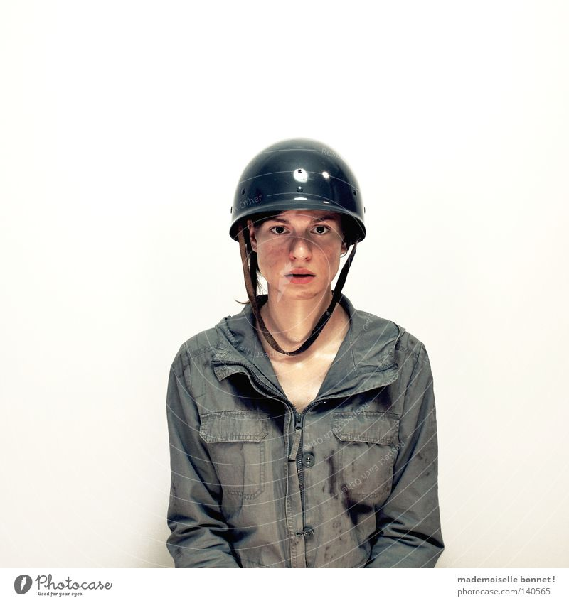 Woman Human being Green Loneliness Emotions Fear Dirty Beginning Wild Jacket Fight Soldier Helmet Nerviness Army Transform