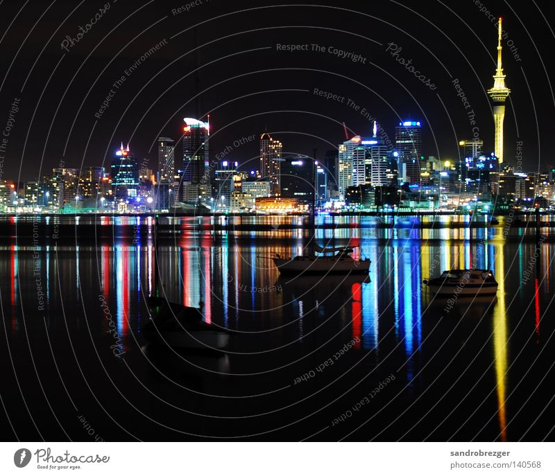 Water White Ocean Blue City Red Calm Yellow Colour Watercraft High-rise Harbour Mirror Night Skyline