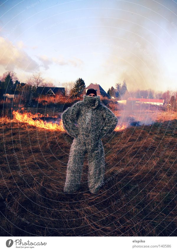 Burn Baby Burn! Fire Meadow Grass Sky Field Flame Smoke Carnival Hay Dry Combustible Arsonist Man Blaze Yeti Exterior shot