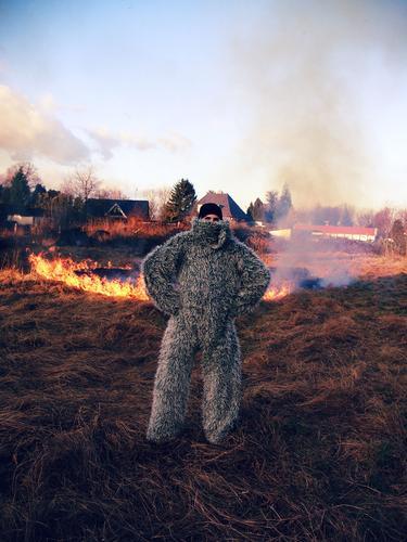 Burn Baby Burn! Fire Meadow Grass Sky Field Flame Smoke Carnival Hay Dry Combustible Arsonist Man Blaze Yeti Exterior shot