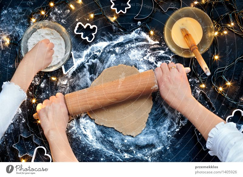 Woman making dough for a Christmas cookies Human being Christmas & Advent Hand Girl Adults Feasts & Celebrations Table Cooking & Baking Kitchen Egg Make Cut