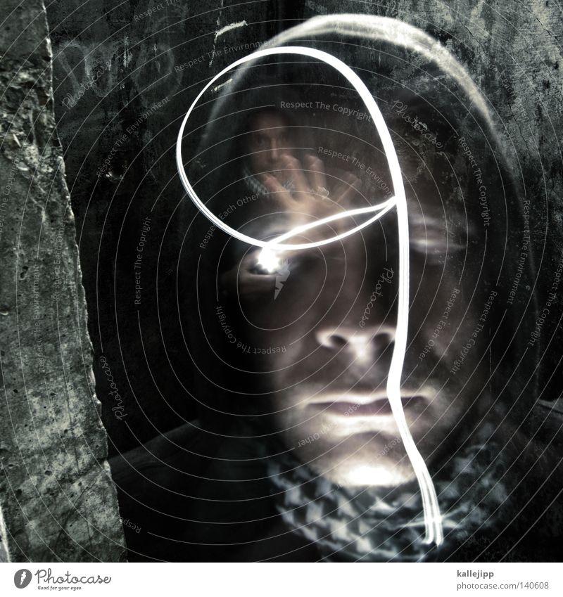I, you, him, her, it. Long exposure Photography Human being Portrait photograph Broken Headdress Cap Headwear Man Intellect Magic 2 Flashlight Panic Fear