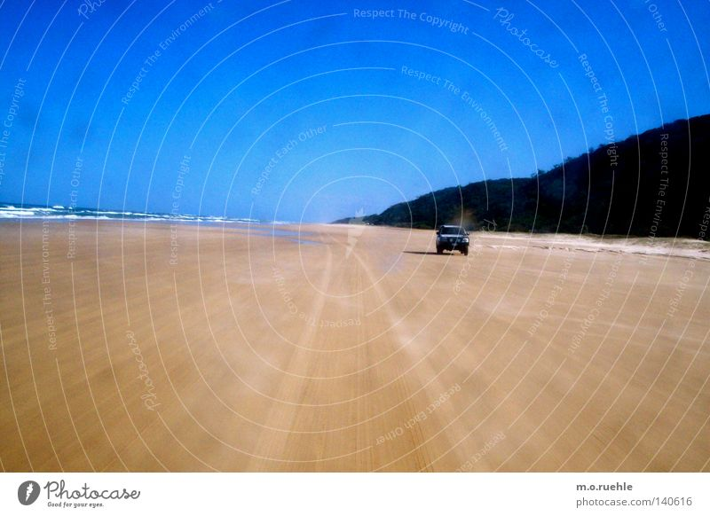 prosecuted Australia Beach Fraser Island Offroad vehicle Pursue Bay Tracks Blue sky Coastal road Summer four-wheel-drive jeep Chase beach trip summer excursion