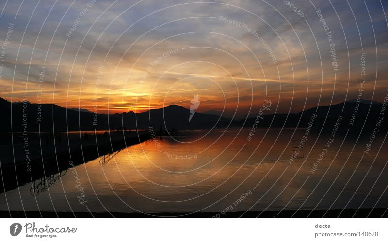 wörthersee Europe Lake Looking wasser kärnten österreich sonnenuntergang abend dämmerung Morning Water Reflection spiegelung Orange himmel Sky