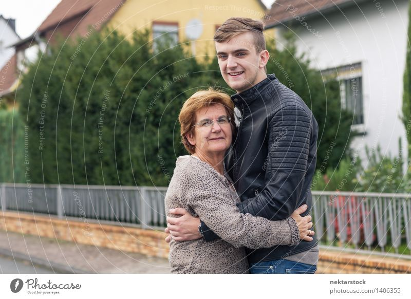 happy young adult with his grandmother Joy Happy Garden Retirement Woman Adults Man Family & Relations Street Old Smiling Love Embrace Happiness Emotions Pride