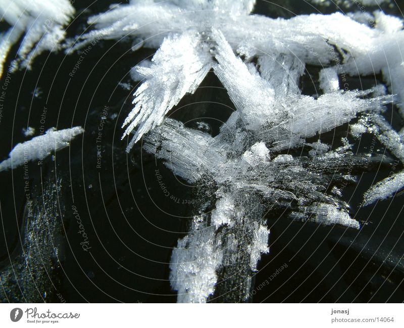 White Black Dark Snow Lake Bright Ice Crystal structure Frozen surface