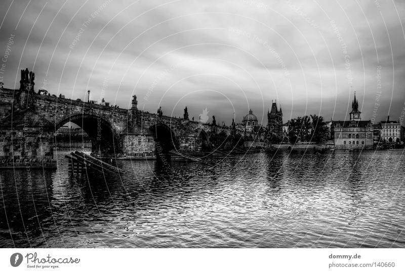 Karluv most Prague Clouds The Moldau Czech Republic Charles Bridge Town Black White Statue Landmark Famousness Column Historic Rain Weather Water River Czechia