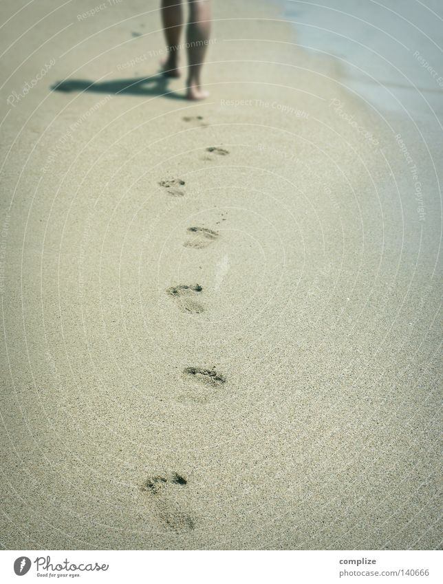 Your tracks in the sand (Italo Boot Mix) Beach Sandy beach Barefoot To go for a walk Vacation & Travel Silhouette Wellness Summer South Idyllic beach Footprint