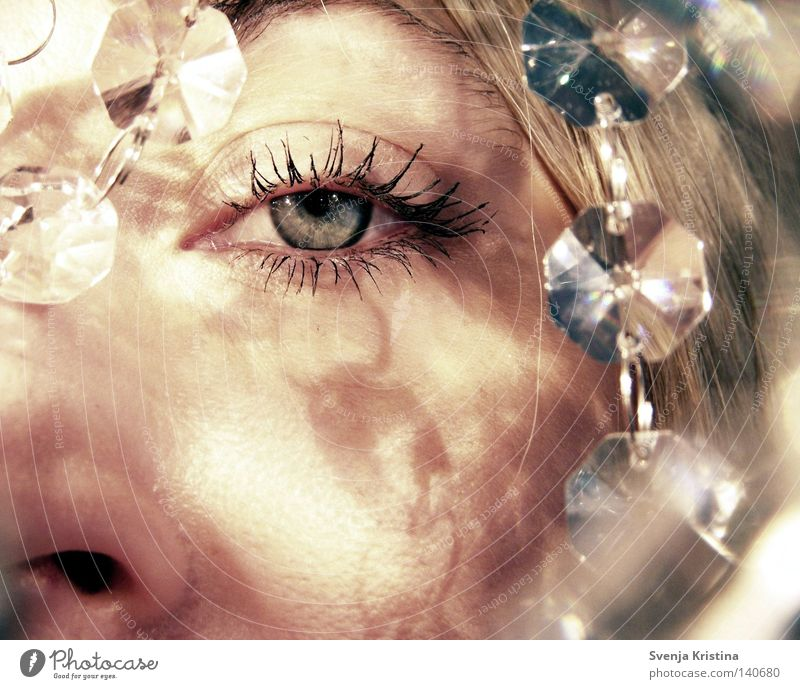 Woman Beautiful Blue Face Calm Eyes Feminine Lighting Glittering Glass Drop Crystal structure Eyelash Crystal Visual spectacle