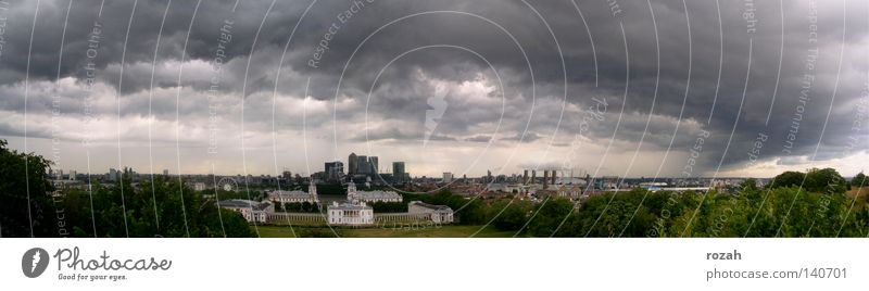 London- Greenwich Gale England Great Britain Town Thunder and lightning Skyline Panorama (View) Panorama (Format) Storm clouds Change in the weather