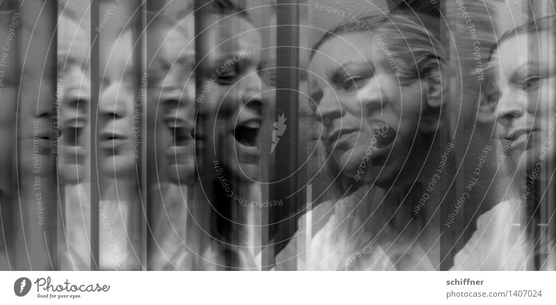The Devil you know Human being Feminine Woman Adults Face 1 30 - 45 years Scream Sing Abstract Mirror Reflection Fear Aggression Helpless Black & white photo