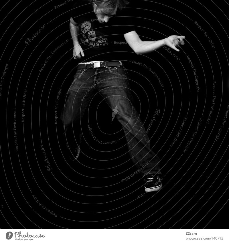 Human being Man Hand White Joy Black Jump Movement Music Air Arm Masculine Action Jeans Simple Rock music
