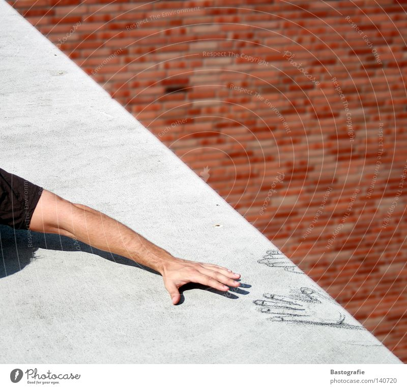 Hand Wall (building) Death Wall (barrier) Fear Arm Concrete Help Grief Safety Roof Climbing To fall Painting (action, work) Brick Painting and drawing (object)