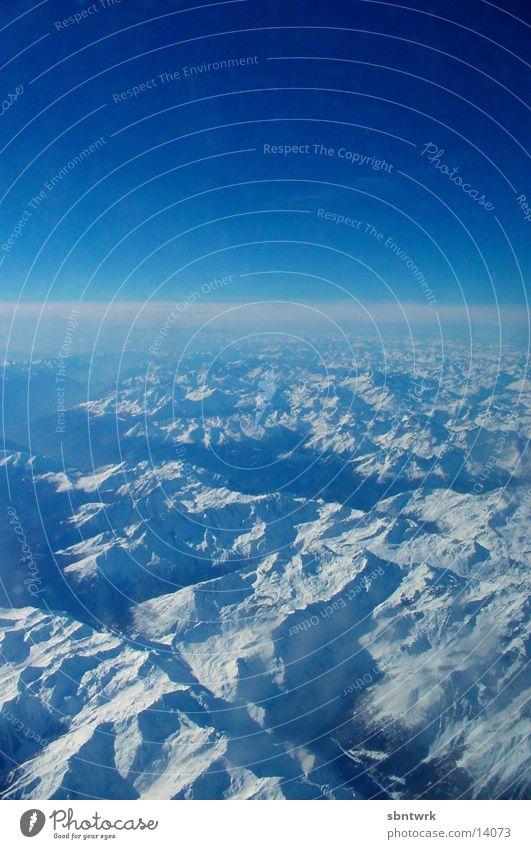 Sky Blue Snow Mountain Airplane Aviation Alps