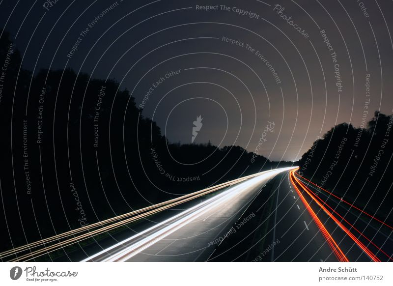 White Red Dark Speed Stripe Highway Night Traffic infrastructure Bremen