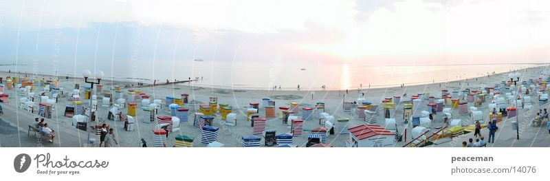 Panorama beach promenade Borkum by day Ocean Beach Vacation & Travel Island Sand Sun