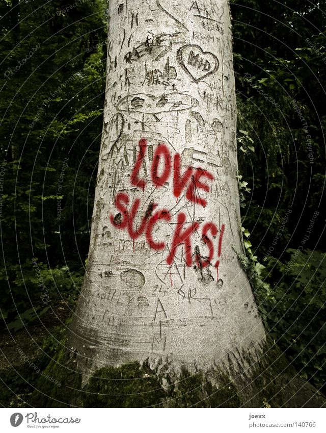 LOVE SUCKS! Tree Sign Characters Graffiti Heart Love Anger Brown Red Black Emotions Sadness Lovesickness Disappointment Loneliness Distress Aggravation
