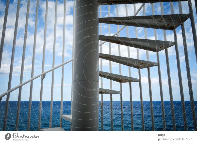 broadening of horizons Water Sky Clouds Horizon Summer Beautiful weather Ocean Deserted Stairs Winding staircase Exterior shot Line Spiral Blue Muddled Go up