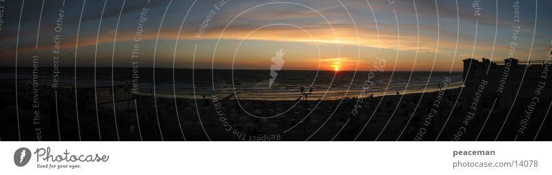 Panorama Borkum at night II Ocean Night Romance Island Sun Borkumj Water