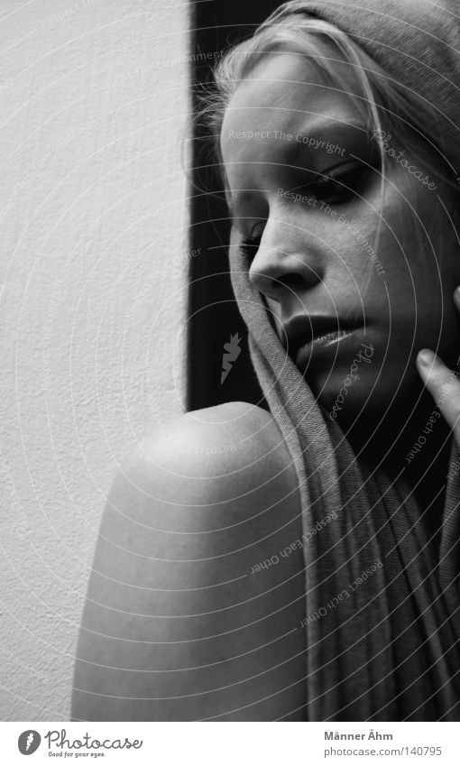Woman Hand White Face Black Wall (building) Gray Hair and hairstyles Sadness Think Nose Fingers Grief Soft Distress Thought