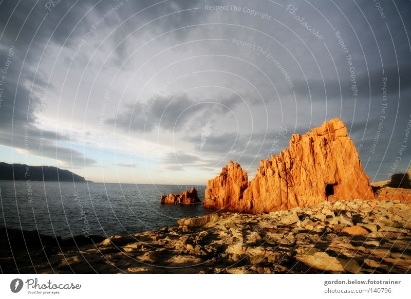 Water Sky Ocean Red Stone Rock Italy Sunset Dusk Surf Sardinia