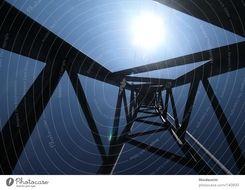 Sky Sun Blue Dark Bright Power Force Electricity Corner Cable Sign Solar Power Sporting event Electricity pylon Competition Abstract