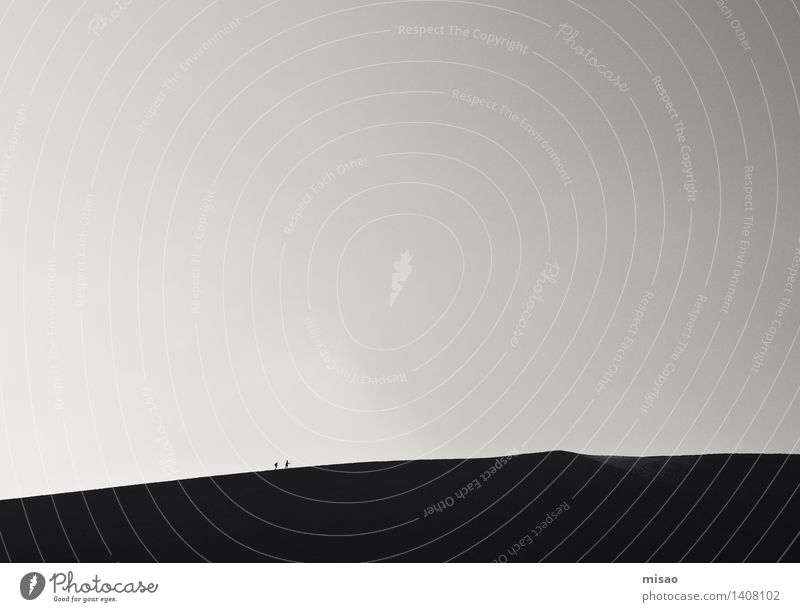 sand dune walk Hiking Human being Friendship 2 Nature Elements Sand Cloudless sky Beautiful weather Hill Dune Walking Sports Together Gray Black White Joy