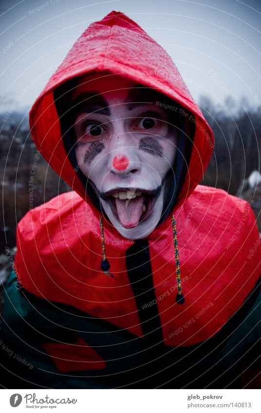 Crazy clown. Clown Portrait photograph Man Teeth Street Trash Nose Clothing Siberia Air Hooded (clothing) Head Hat Joy grimm men tought Rain Red Dark hoody