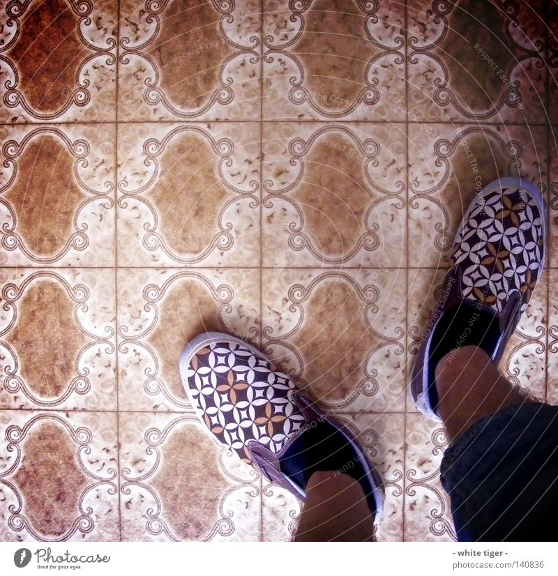 Blue White Black Legs Brown Footwear Stand Floor covering Exceptional Retro Jeans Pants Hide Stockings Checkered Ornament