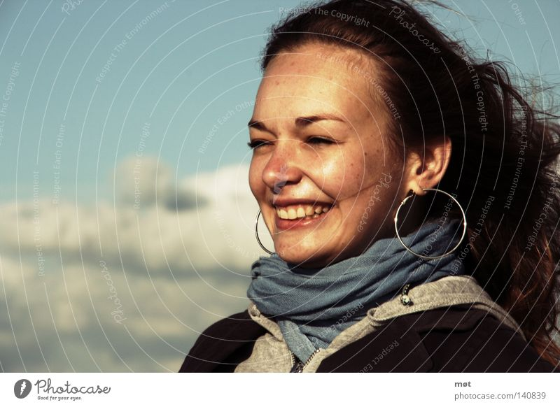towards the sun Hair and hairstyles Face Beach Ocean Human being Feminine Woman Adults Youth (Young adults) Sky Clouds Wind Coast Earring Scarf Laughter Blue
