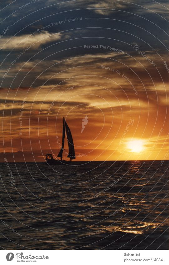 Sailing in the sun Watercraft Ocean Clouds Vacation & Travel Europe Sun Sky Island Evening Sunset