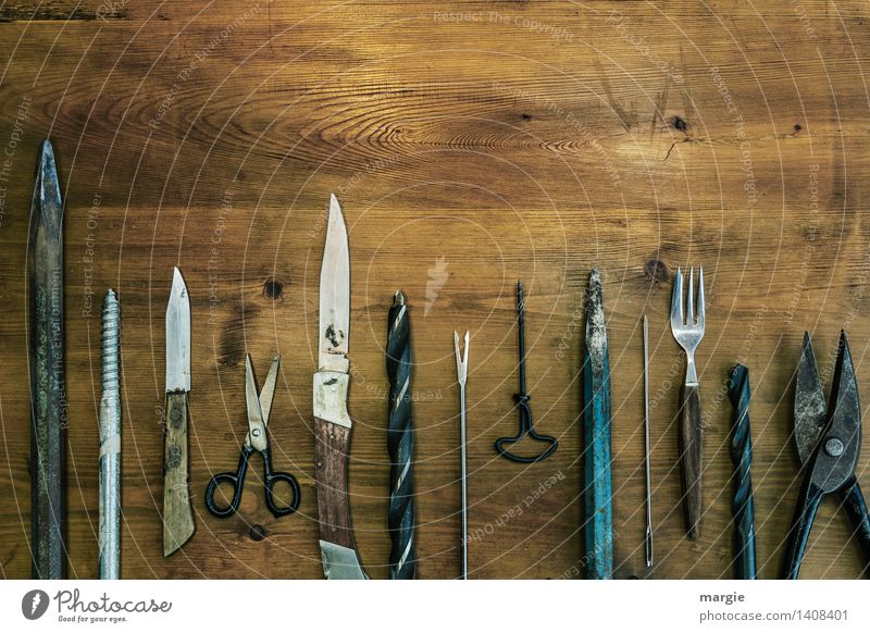 Everything that is pointed Handicraft Model-making Home improvement Profession Craftsperson Services Tool Scissors Drill Technology Wood Metal Point Bit Knives